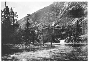 Falls on Tuolumne River at the head of the Hetch Hetchy Valley.  Image: J. N. LeConte from the Sierra Club Archives.