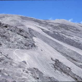 Looking upslope towards the summit, July 25, 1987. Contrast the amount of snow with that from 1988.