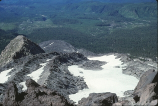 Looking downslope and the Monitor Ridge lava flow, July 8, 1988
